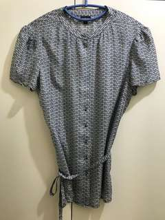 Printed Silk Chinese-Collar Top