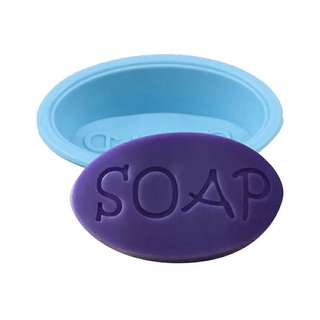 Oval Soap Mold Silicone Mould With text SOAP for diy melt and pour