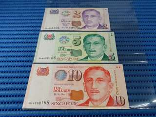 AA Singapore Presidential Portrait Series Identical Numbered Note $1, $5 & $10 Note 0AA 008166 Nice Number Dollar Banknote Currency
