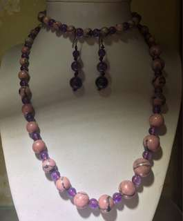 6月精選大減價🎁~紫水晶+瑪瑙 頸鏈+耳環💕💃💅