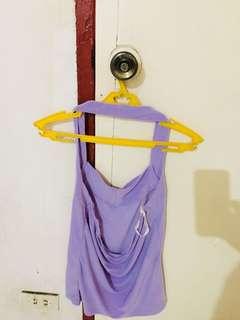 purple halter backless