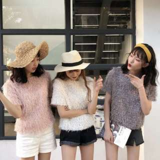 🚚 【週末女孩】日韓系春季新款 日本雜誌MINA款毛毛流蘇百搭短袖圓領甜美上衣 素色流蘇短袖上衣 閨密裝 XF251