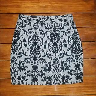 Black and grey mini skirt