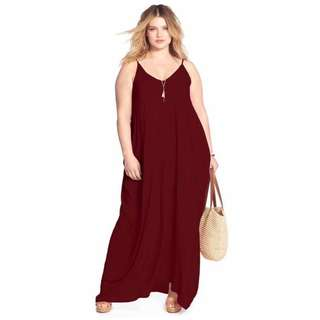 Plain Plus Size Maxi Dress