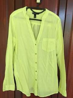 Mango Blouse Lime Green Longsleeve