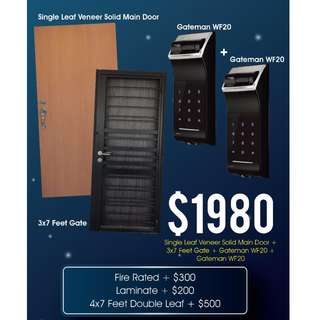 [Promotion] HDB Main Door + Gate + Fingerprint Digital Lock Package at $1980