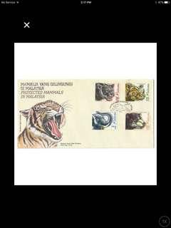 1999 Protected Mammals of Malaysia FDC SG731-734 (slight toning)