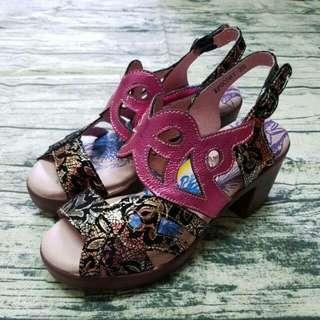 🚚 THE ONE 麥肯納風格 金屬羊皮 氣墊高跟涼鞋/高跟鞋/粗跟鞋/楔形鞋/厚底鞋/氣墊鞋/拖鞋/涼鞋