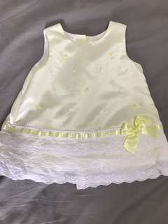 Yellow pearl and lace formal dress