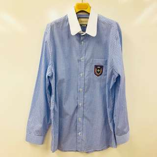 Men Gucci blue and white checkers shirt with bee size XL