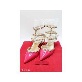 ICONLady Pink - VALENTINO 淺金色窩釘 粉紅色漆皮 高跟涼鞋