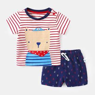 🚚 Red Bear Stripes Tee and Shorts in Set
