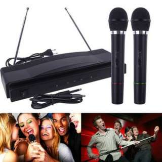 (313)Professional Wireless Microphone System Dual Handheld 2 x Mic Receiver