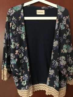 Navy floral kimono cardigan