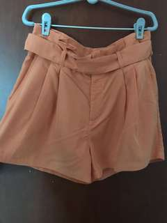 Orange Tie Up Flare Shorts