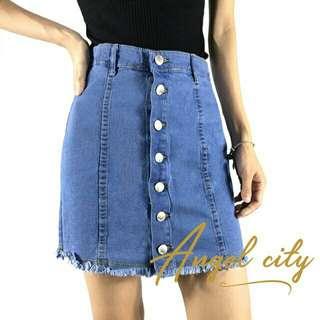 Button Down Denim Skirt Stretchable