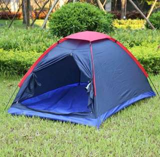 Outdoor Camping Tent Kit Fiberglass Pole Water Resistance with Carry Bag