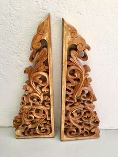 Vintage Wood Carved Panels