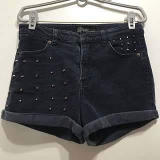 Navy Studded Shorts