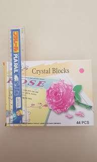 3D Crystal Block 44pc - Pink Rose