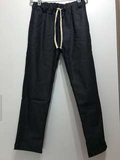 Navy denim cargo pants