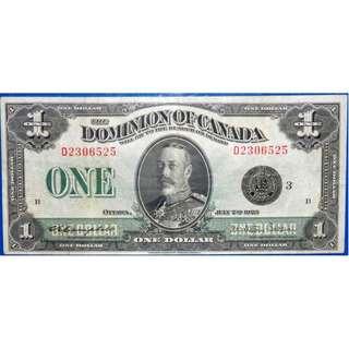 1923年英屬加拿大政府財政部英皇佐治五世肖像壹大圓銀票 (已入套評級)