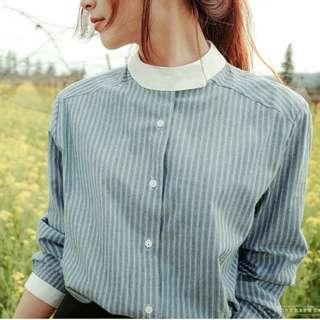 (PO) Striped Round Collar OL Top