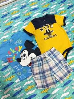 🚚 Carter's 短褲24個月+正版米奇上衣4號+Nike 包屁衣18個月(三件合售)