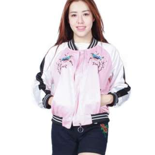 Bomber Jacket pink embroidered