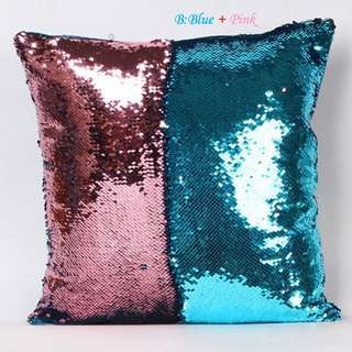 [Cushion Cover] 10-Color Vogue Double Color Reversible Sequins Mermaid Glitter Sofa Cushion
