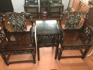 Half Set Blackwood Furniture (4 chairs, 2 tables)