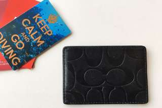 COACH Women's leather card holder (Black) COACH女裝真皮卡片套 (純黑有光澤)