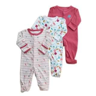 🚚 Happy Flamingo Series in Set of 3 Sleeping Suit/Pajamas