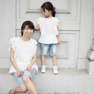 ☑️ INSTOCKS 3-15Y Girls White Ruffles Blouse G21041G (Mother size available)