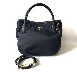 LIKE NEW Preloved Authentic Prada Manici Bleu Nylon 2011