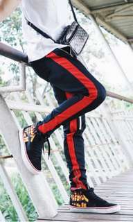Stiped Track Pants with Zipper