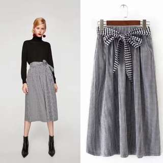 Zara Gingham Midi Skirt