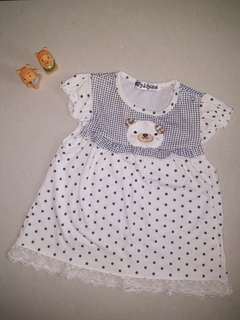 Pre-💖 white polka dot teddy dress