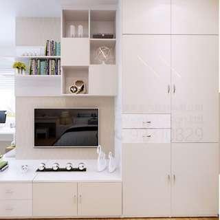 最大利用空間的衣櫃+電視櫃+吊櫃