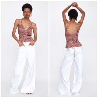 🚚 OshareGirl 06 歐美女士金屬亮感皺摺綁帶造型細肩帶背心上衣