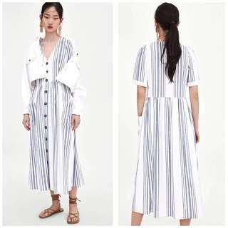 🚚 OshareGirl 06 歐美女士印花條紋排釦設計短袖連身長裙洋裝