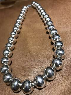 Sterling Silver Beads Necklace (13.82MM)Solid
