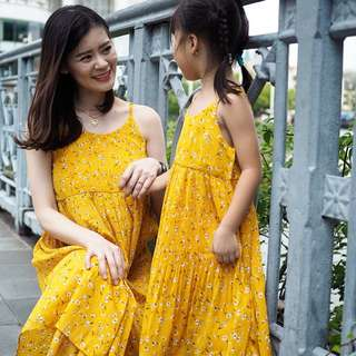 ☑️ INSTOCKS 3-15Y Girls Yellow Floral Summer Pleated Dress G21034E (Mother size available)