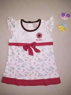 Pre-💖 red white flowery baby dress set