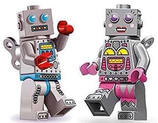 Lego Minifigure Series 6 & 11 Clockwork female male robot pair