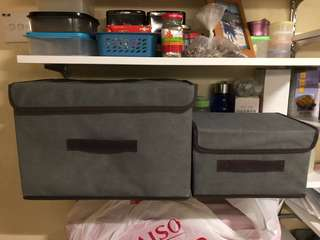 Storage boxes 2pc set collapsible with cover 1big*1small