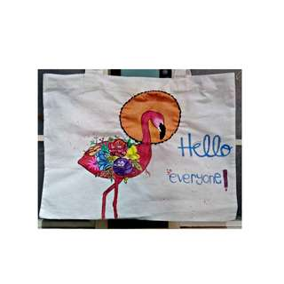 LIMITED- PAINTING TOTEBAG by artbyDin. #FLAMINGO .