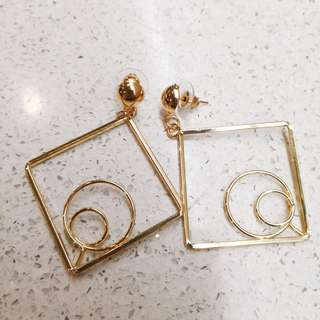 Gold square earings