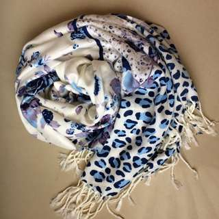 White Blue Scarf