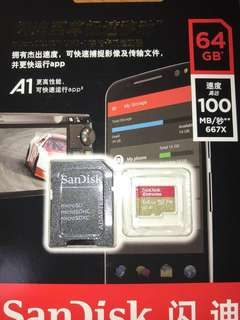 Sandisk micro SD card U3 for 4k Gopro 64GB